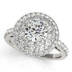 Double Halo Round Cut Diamond Engagement Ring 14k White Gold (2.00ct)