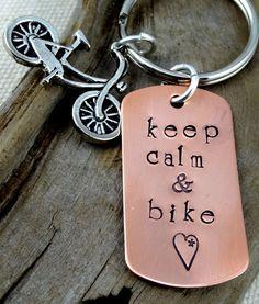 Bike Key Chain - Hand Stamped - Keep Calm & Bike - Men Woman Accessory - Keychain Key Ring - Biking Bicycling    ♥ copper dog tag measures 1 1/2