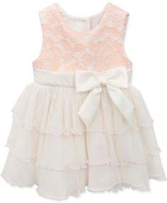 Rare Editions Baby Girls' Peach & Ivory Party Dress  | macys.com