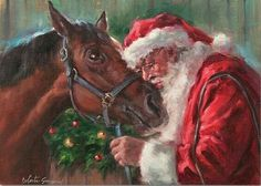 Santa visits the horse in the barn on Christmas Eve