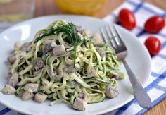Raw Zucchini Noodles with Creamy Dill Sauce & Mushrooms