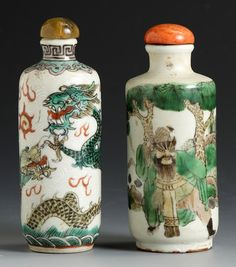 "Two Porcelain Cylindrical Form Snuff Bottles. Incised decoration with 4 toed ascending dragon, Ht. 3 1/2""; Famille decoration of a man with a hatchet and other figure, Ht. 3 1/4""."