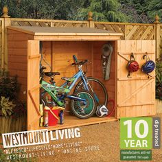 NEW SMALL WOODEN BIKE BICYCLE SHED GARDEN LOG STORE IN T&G SHIPLAP OR OVERLAP