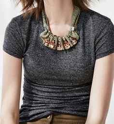 Pairing a sparkly mixed media necklace with a simple tee this weekend.