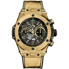Hublot Big Bang UNICO 45mm 411.VX.1189.VR.USB16 Watch (42,470 CAD) ❤ liked on Polyvore featuring men's fashion, men's jewelry, men's watches, mens gold watches and hublot mens watches