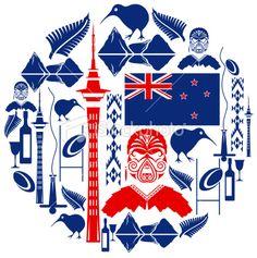 New Zealand Icon Montage Royalty Free Stock Vector Art Illustration New Zealand Adventure, New Zealand Art, Nz Art, Clinic Design, Kiwiana, Native Art, Free Vector Art, Image Now, Iphone Wallpaper
