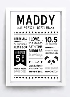 Printable Panda First Birthday Poster by LittleOakInk on Etsy