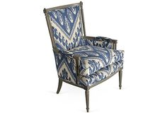 1940s French Armchair on OneKingsLane.com upholstered in Michelle Nussbaumer chevron ikat fabric. {chevron AND ikat fabric!! beyond fabulous}