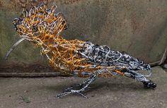 Hoopoe wire Bird Sculpture by Paul Green
