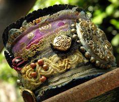 Vintage textile wrist cuff  gypsy queen ❤ by quisnam on Etsy