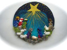 Krippen - Großes Wollbild Weihnachten.Gefilzt.Waldorf - ein Designerstück von Filz-Art bei DaWanda