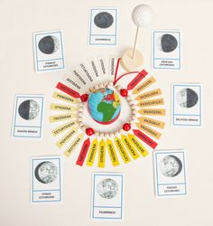 With Montessori Moon chain children learn to understand the phases of the moon, days of the week and processes in the universe. Montessori Education, Montessori Classroom, Montessori Materials, Penguin Birthday, Education Week, Order Of The Day, Reggio Emilia, Moon Phases, Outer Space