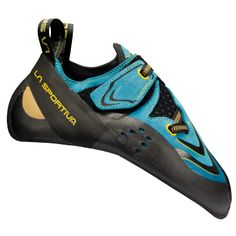 The La Sportiva Futura Climbing Shoes have a lightweight, thin and sensitive design for high-performance bouldering, sport climbing, technical trad climbing and gym climbing. Rock Climbing Shoes, Climbing Outfits, Sport Climbing, Climbing Pants, Climbing Clothes, Indoor Climbing, Party Kleidung, Blue Shoes, Hot Shoes
