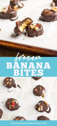 Paleo Frozen Banana Bites are the perfect healthy dessert or sweet snack! Made with only 4 ingredients, these healthy bites are a delicious, easy treat! #paleo #healthy #dessert #banana #vegan Frozen Banana Recipes, Frozen Banana Bites, Banana Recipes Clean Eating, Clean Eating Snacks, Healthy Gluten Free Recipes, Healthy Dessert Recipes, Vegetarian Recipes, Yummy Treats, 4 Ingredients