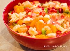 "Peachy Fruit Salad - I've been making this for years and everyone loves it.  They always ask for the recipe and never guess the ""secret ingredient"".  You can use any combination of fresh and canned fruit you desire.  We like mandarin oranges, pineapple chunks, green grapes, banana slices, and maraschino cherries.  Be sure canned fruit is well drained."