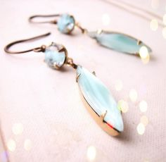 Summer jewelry turquoise art glass earrings