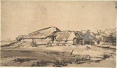 Group of Farm Buildings  Rembrandt (Rembrandt van Rijn)    ca. 1648–52