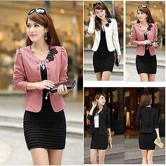Fashion Women Jacket Suits Blazer Collarless Lady Short Coat Outerwear OL Shurg