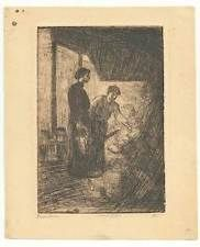 Marco ZIM Russia Etching Lower East Side Manhattan NY Fruit stand Jewish 30s