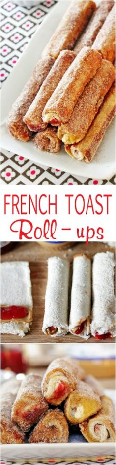 French toast roll-ups with gooey fillings and golden brown buttery outsides rolled in cinnamon sugar. Melt in your mouth delicious! Easy to make and kids love them!