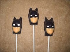 1 chocolate super hero batman batgirl head favors lollipops lollipop | sapphirechocolates - Edibles on ArtFire