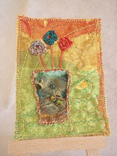 EMBROIDERED TEXTILE ART  Aceo  'Vase of Flowers 1' by HeketDesigns, $12.00