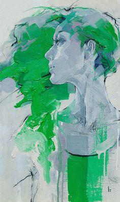 Portrait in green Art Painting Gallery, Modern Art Paintings, Oil Painting Abstract, Figure Painting, Painting & Drawing, Watercolor Portraits, Watercolor Art, Figurative Kunst, Organic Art