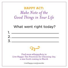 Happy Acts   What Went Right Today   Share your own #HappyActs