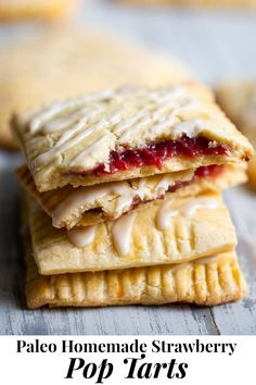 These strawberry homemade pop tarts have passed all the tests! Gooey maple-sweetened strawberry filling in a flaky grain free pastry crust with a dairy free option. Gluten-free, paleo, kid approved, fun to make and freezable! Try subbing in coconut sugar Strawberry Pop Tart, Strawberry Dessert Recipes, Paleo Sweets, Paleo Dessert, Pop Tarts, Paleo Kids, Bon Dessert, Paleo Baking, Paleo Food