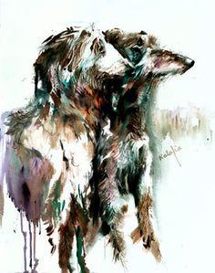 Scottish Deerhound. Watercolor dog Print Signed by the artist, Carol Ratafia. Double Matted to 10x12