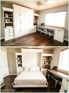 DIY Modern Farmhouse Murphy Bed Instructions – DIY Space Savvy Bed Frame Design Concepts Instructions Source by samanthaeathert Farmhouse Murphy Beds, Modern Farmhouse, Farmhouse Style, Murphy Bed Office, Murphy Bed With Desk, Office Bed, Basement Office, Basement Layout, Modern Basement
