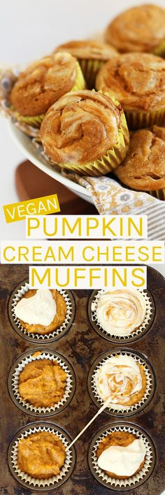 Perfectly seasons and incredibly moist vegan pumpkin cream cheese muffins.