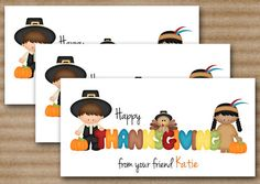 Pilgrim Turkey Indian Thanksgiving Treat Bag Topper - DIY Printable Digital File - Personalized. $5.00, via Etsy.