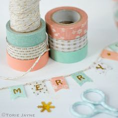 Christmas washi tape bunting tutorial by Torie Jayne. Rose and Mint christmas palette. Fee Peach Christmas washi tape bunting tutorial by Torie Jayne. Rose and Mint christmas palette. Washi Tape Cards, Washi Tape Diy, Masking Tape, Washi Tapes, Duct Tape, Cinta Washi, Bunting Tutorial, Tape Crafts, Clay Crafts