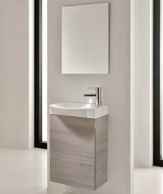 18 Inch Bathroom Vanity Wall Mounted Grey Finish Modern Integrated Sink