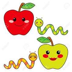 14576742-Sweet-green-and-red-apples-with-cute-worm-friends-smiling-Stock-Vector.jpg (1300×1300)