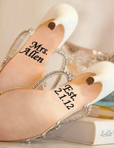 Wedding shoe personalized vinyl decal