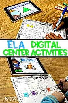 Digital Student Center Activities for kindergarten and first-grade classrooms. These paper saving literacy skills centers, with response worksheets, will be a classroom favorite.