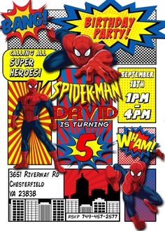 Spiderman Invitation Spiderman Birthday by LaughingWillowDesign - Visit to grab an amazing super hero shirt now on sale! Spiderman Theme Party, Spiderman Birthday Invitations, Superhero Invitations, Invites, Turtle Birthday, Superhero Birthday Party, 3rd Birthday Parties, Boy Birthday, Third Birthday