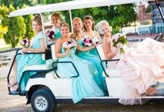 Bride in a Vera Wang Blush Pink Gown, Bridesmaids in Blue| Photo by:  nashvilleweddingphotography.com