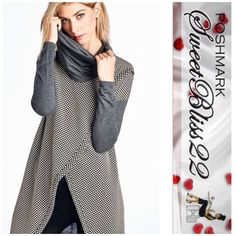 ⭐️Now Available Charcoal Gray Top⭐️ This is the only top you need this winter!JACQUARD DOT COWL NECK LONG SLEEVE TOP!  Dress it up,with jeans and heels! Also comes in mocha! This will sell out! Don't buy this listing! Leave your size in the comments! Comes in S,M,L⭐️Small measures 41 inches in the bust,⭐️Medium measures 44 inches in the bust⭐️Large measures 46 inches in the bust Tops