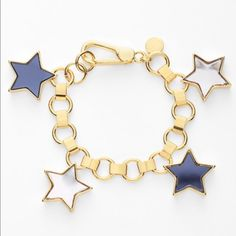 """Marc Jacobs All Star Gold Tone Charm Bracelet BRAND NEW! Marc Jacobs All Star Gold Tone Charm Bracelet- Shiny mirrors center light-catching stars that swing playfully from a golden charm bracelet. MEASUREMENTS: 7 1/2"""" length; 1/2"""" width; 1"""" drop- Lobster clasp closure- Gold ionic plate/plastic. RETAIL $148.00 Marc Jacobs Jewelry Bracelets"""