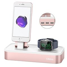 Apple Watch/iPhone Charging Stand, Oittm 5 in 1 USB Charger - Food Apple Watch Iphone, Iphone Watch Bands, Apple Watch Accessories, Cell Phone Accessories, Usb Dock, Rose Gold Apple Watch, Mini Apple, Apple Watch Series 3, Apple Products