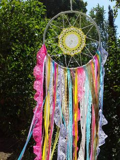 Sunny Doily Dream Catcher on an 8 Inch Hoop. Pretty & Sparkly Dream Catcher. $65.00