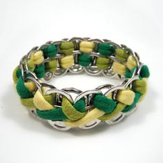 Lemon-Lime Braided Pop Tab Bracelet