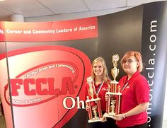 Two students from Four County Career Center's Family, Career and Community Leaders of America (FCCLA) recently earned a first or second place trophy at the state FCCLA Leadership Conference in Columbus. They earned the right to advance to national competition held in Nashville, Tennessee, July 2-6. Shown with their trophies are (from left) Katie Ewers, Edon, Interior Design, second place trophy, and Paige Coressel, Archbold, Fashion Design, first place trophy. The FCCLA participants are…