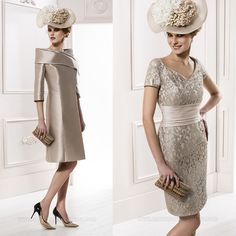 Gorgeous formal New Arrival Mother of the Bride Dresses with Knee Length Lace Champagne Chiffon Short sleeves