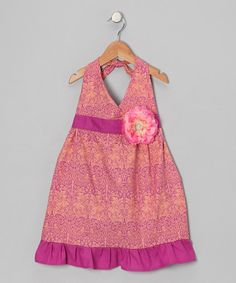 Take a look at this Peach & Berry Daisy Halter Dress - Toddler & Girls by Bubblegum Diva on #zulily today!