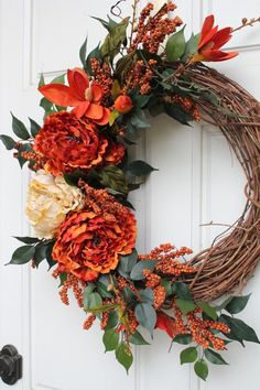 Fall Grapevine Burnt Orange and Golden Peonies with Orange Magnolia Large burnt orange and golden cream peonies accented with orange magnolias and dark orange berries on an 18 inch grapevine wreath. Inviting fall wreath for your foyer and front door. Easy Fall Wreaths, Diy Fall Wreath, Thanksgiving Wreaths, Thanksgiving Decorations, Holiday Wreaths, Yarn Wreaths, Winter Wreaths, Burlap Wreaths, Spring Wreaths