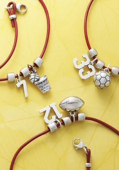 Create a Winning Combination - Mix sports charms and jersey numbers to celebrate your MVP, or record a personal best by adding dates or scores to engravable charms. Baseball Necklace, Charms Pandora, Face Jewellery, Accesorios Casual, Presents For Friends, James Avery, Vintage Cartoon, Kids Jewelry, Basketball